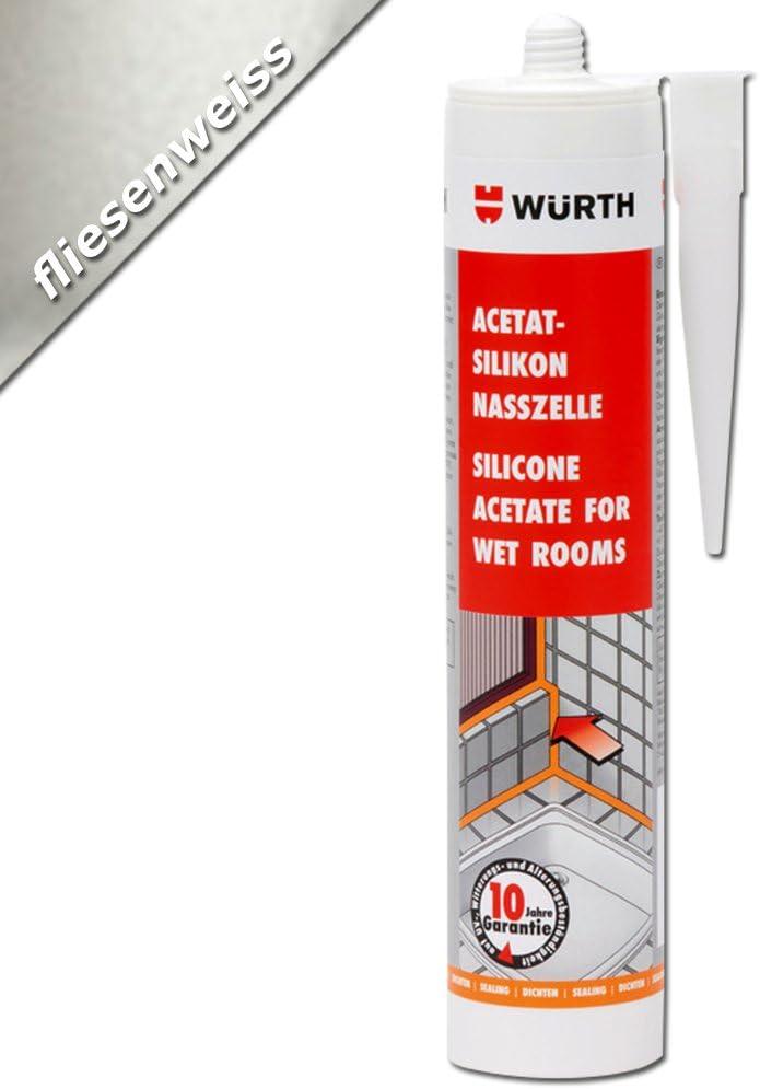 Würth–Silicona acetato para habitaciones húmedas baldosas Blanco 310ml