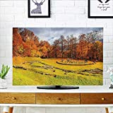 """Auraisehome tv dust Cover Fall Garden Landscape in Romanian National Park Sanctuary Peaceful Calm View Orange Green Dust Resistant Television Protector W25 x H45 INCH/TV 47""""-50"""""""