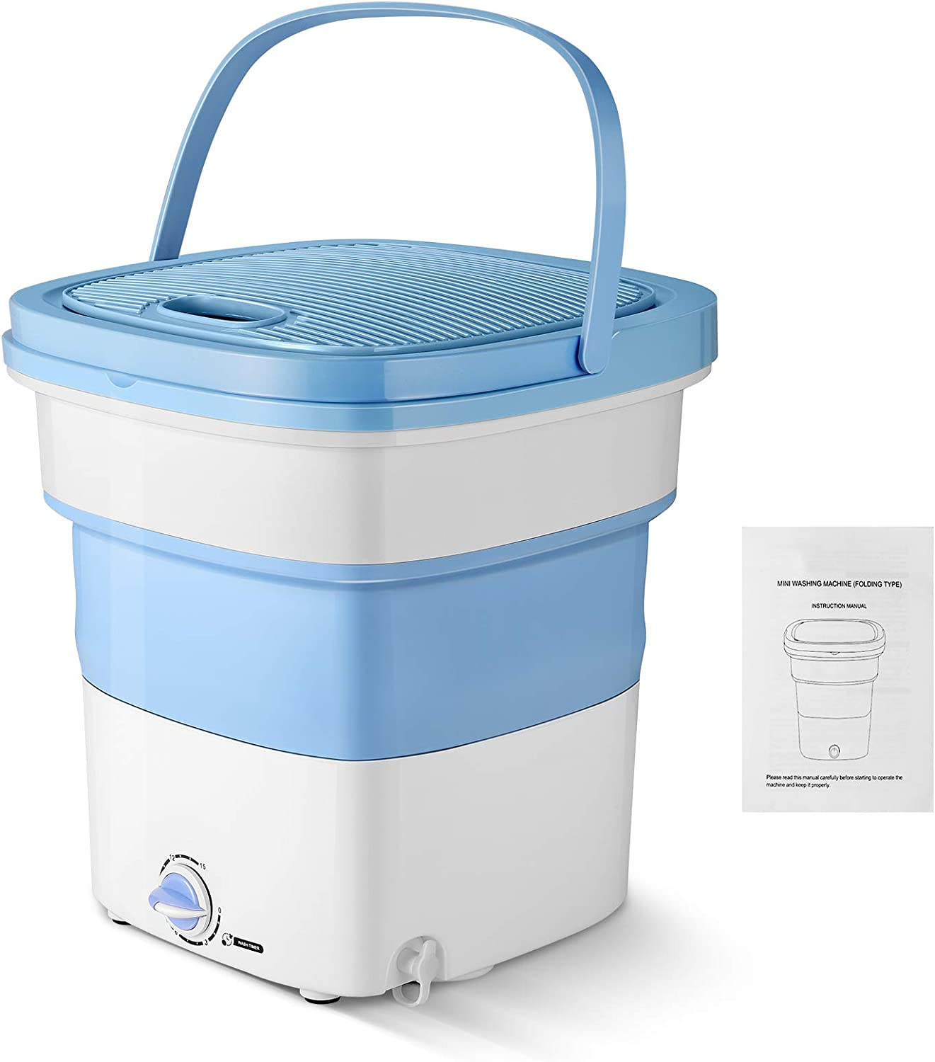 Magic Folding Washing Machine Quick Gear Washing Machine Portable Foldable Collapsible Countertop Automatic Personal Turbine Washer for Camping Travelling Apartments Dorms RV (300W, Blue)