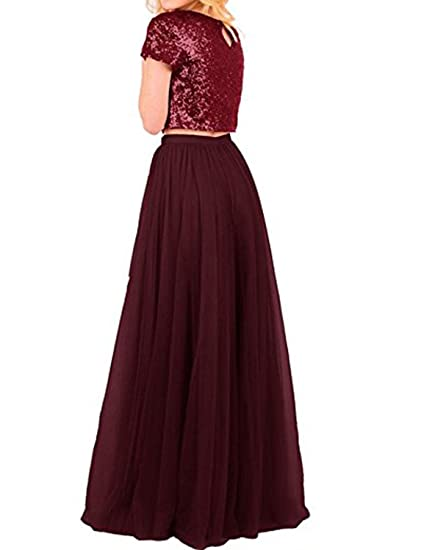 82c1dead6e CIRCLEWLD Short/Long Two Piece Bridesmaid Dresses with Sleeves Sequins Top  Tulle Skirt Plus Size Prom Gown B76