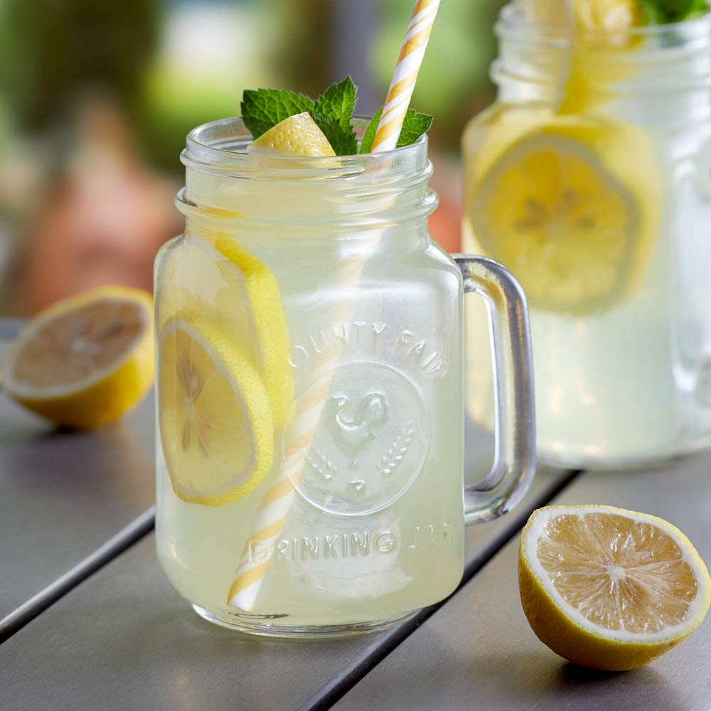 Core 16 oz. County Fair Mason Jar/Drinking Jar with Handle - 12/Case by TableTop King