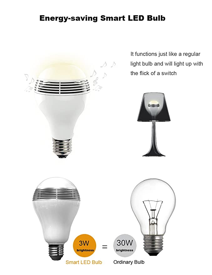 Smart Led Light Bulb Bluetooth Speaker Valentines Day Gifts 3w E27e26 Rgb Changing Music Lamp Wireless Stereo Audio Smartphone Controlled Dimmable