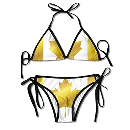 35dea48c7ec Image Unavailable. Image not available for. Color: Golden Canada Flag  Womens Sexy Bikini Set ...