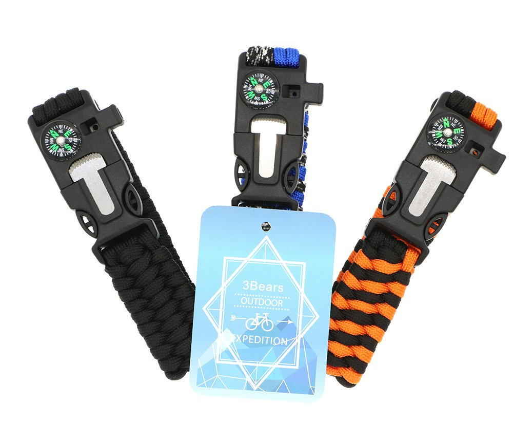 3 Bears Outdoor Survival Paracord Bracelet with Compass Fire Starter and Emergency Whistle Pack of 3
