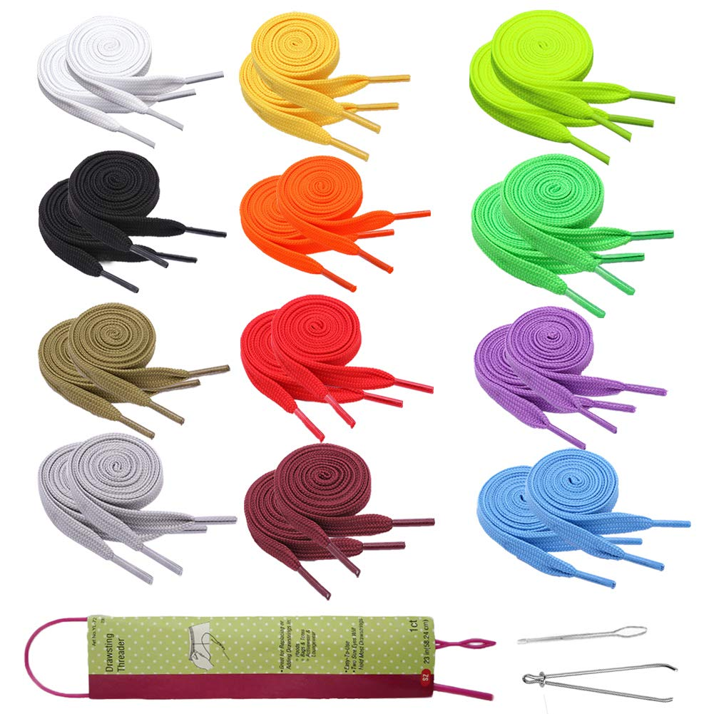 Colorful Universal Drawstrings for Jackets Swim Trunks Shoe Laces Tote Bags 47 Long 27 Pack Replacement Drawstrings Kit for Sweatpants Shorts Hoodies with Drawstrings Threader Needle Threaders