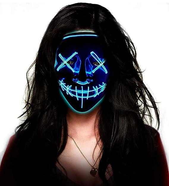 LED Purge Mask , Aditomo Halloween mask LED mask Light Up mask for  Halloween Festival Party Costume