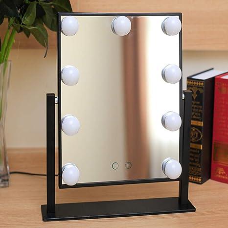 ZRZJBX Espejo Maquillaje Iluminado con 9 Bombillas LED Ajustable Y Diseño De Control Táctil, Espejo de Tocador Mesa con Luz LED Estilo Hollywood, Espejo Cosmético con Luces,White: Amazon.es: Hogar