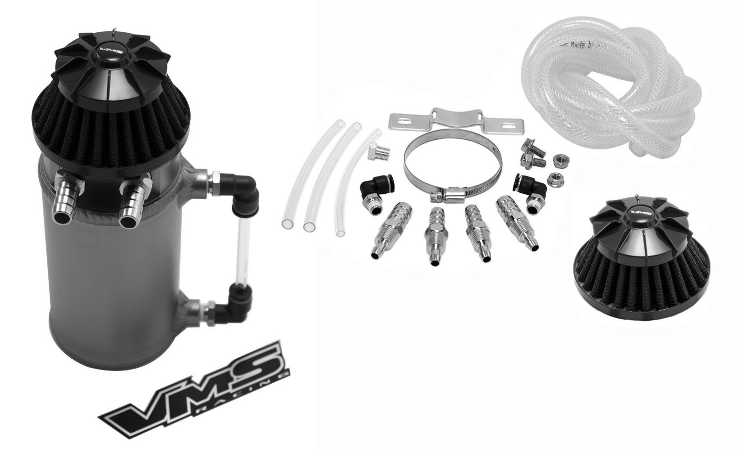VMS Racing Universal Matte GUNMETAL Aluminum OIL Reservoir CATCH CAN Canister Tank with Breather (Complete Kit) 100-VMSCOCCTGM2