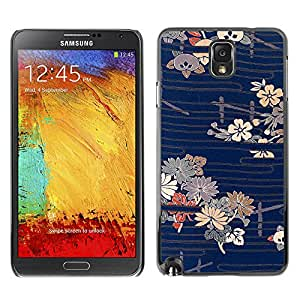 MOBMART Carcasa Funda Case Cover Armor Shell PARA Samsung Note 3 N9000 - Blue Lines Of Floral Pattern