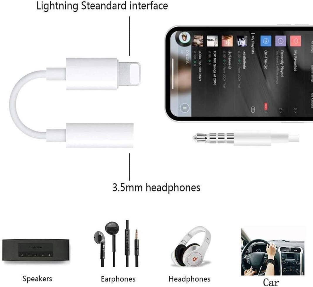 Lighting to 3.5mm Headphones//Earbuds Jack Adapter Aux Cable Earphones//Headphone Converter Accessories Support iOS 12//11-Upgraded Compatible with iPhone Xs MAX//XR//X//8//8 Plus//7//7 Plus//ipad//iPod 2 Pack