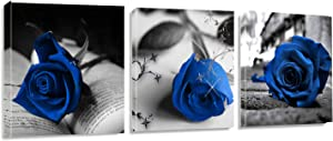 Canvas Wall Art Blue Rose Flowers on Book Pictures Painting -36
