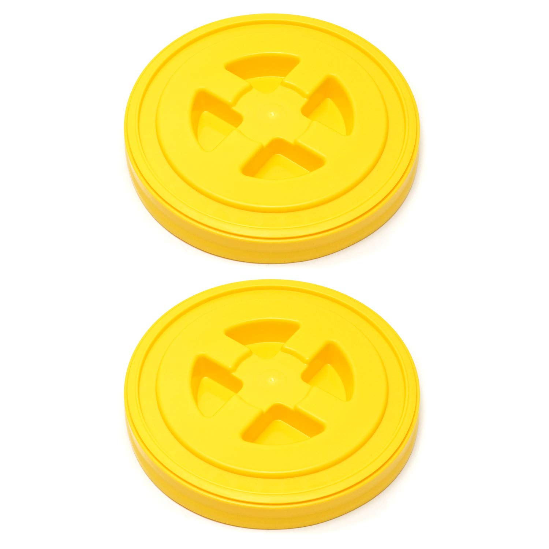 QWORK 2 Pack 5 Gallon Seal Lid, Plastic Bucket Lids, Yellow