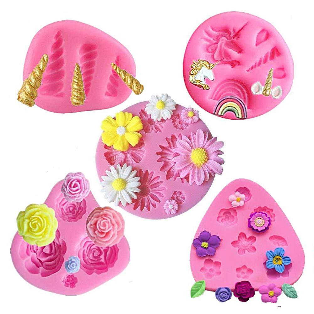 5 Pack Mini Unicorn Silicone Mold,Unicorn Ears Horn Rainbow Flowers and leaf,Silicone cake fondant mold Set,Cupcake Toppers Fondant Chocolate Mold for ...
