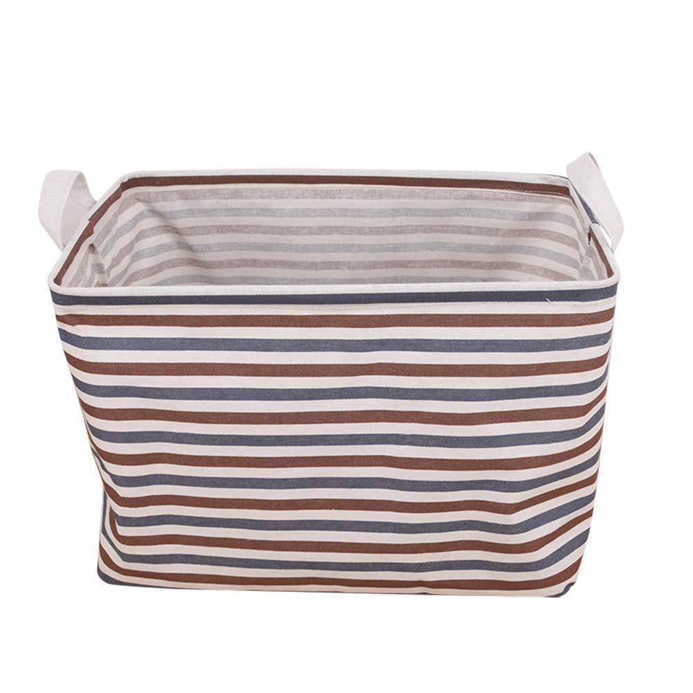 ropa sucia 20 * 16 * 13cm S armario Cesta de almacenamiento de tela cuadrada impermeable con patr/ón de rayas para oficina juguetes Depory