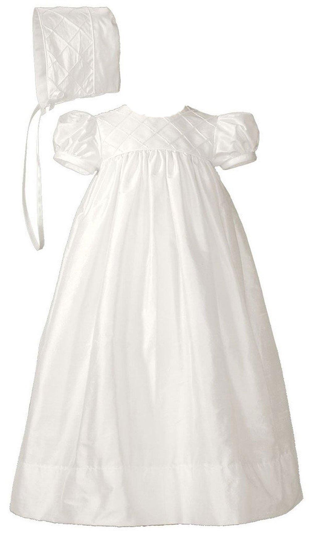 26'' Girls Silk Dupioni Dress Baptism Gown with Lattice Bodice 6M