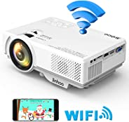 Jinhoo Mini WiFi Video Projector Update 4200 Lux, 1080P Supported 176'' Projector Size, 55000 Hours Lamp Lifetime, Also Compa