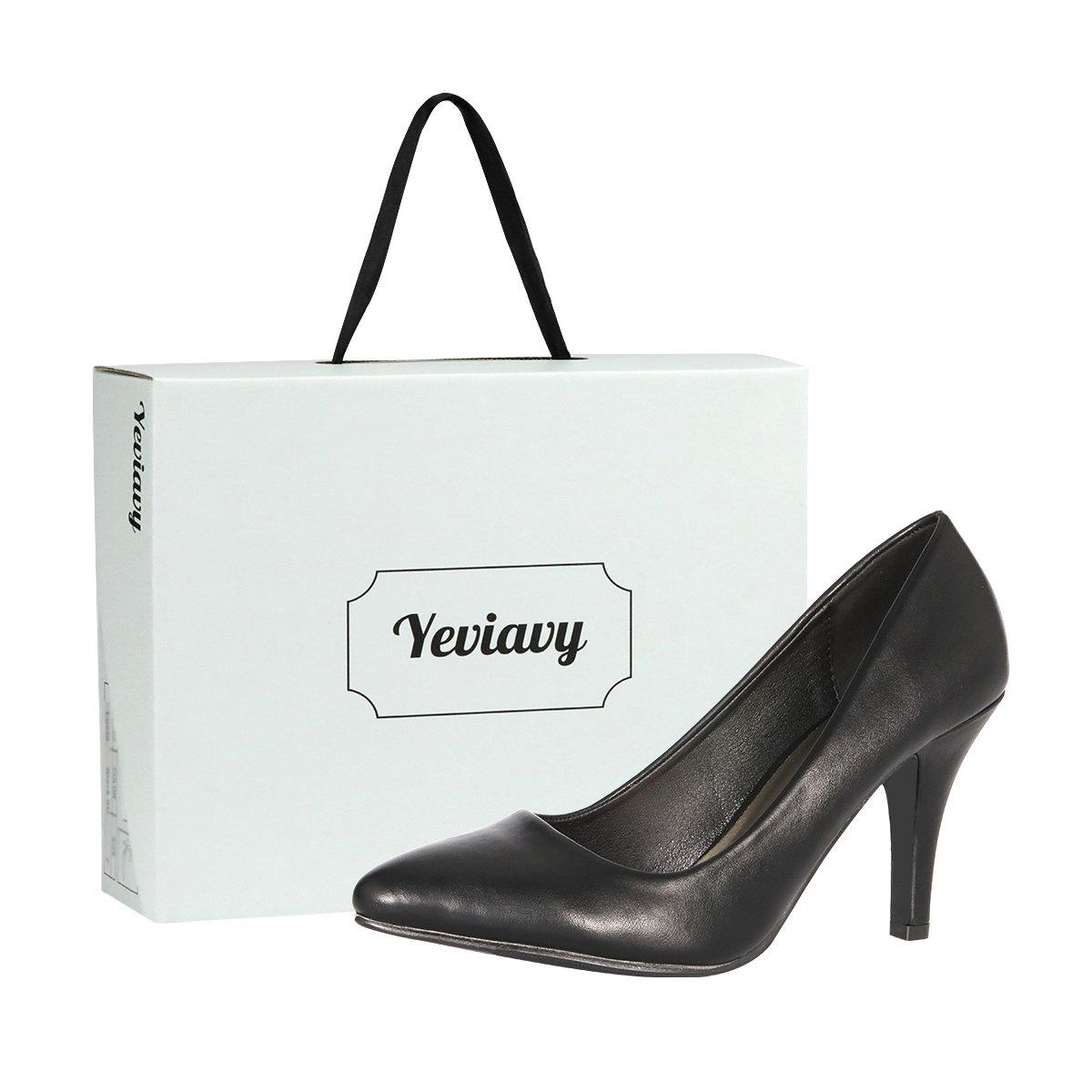 Yeviavy Women's Pumps Shoes High Heel Pointed Toe Dress Fashion Shoes Black/Pewter PU 8.5 by Yeviavy (Image #6)