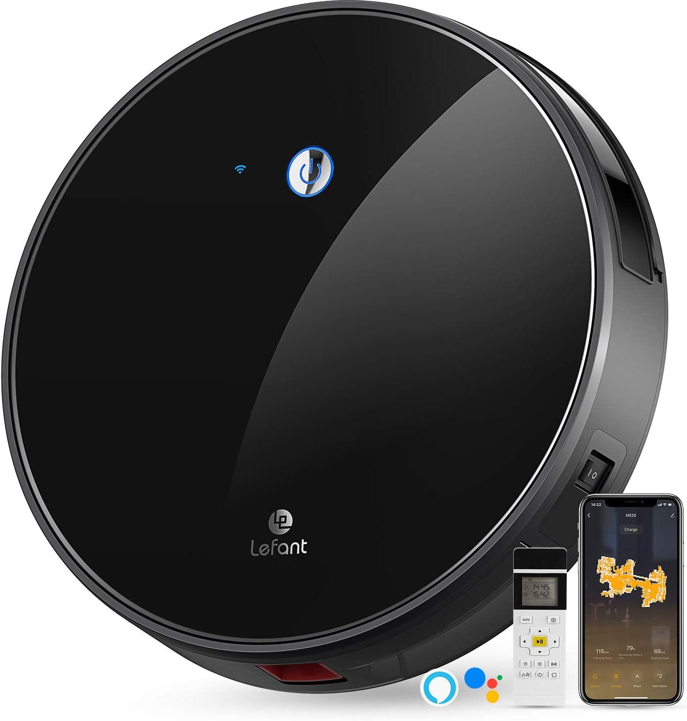 LEFANT Robot Aspirador,succión de 2200 Pa,Control WiFi,Funciona con Alexa y Google,mapeo Inteligente,silencioso,autocargable, Robot Aspirador M520