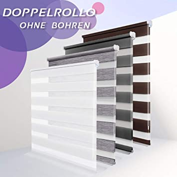 Allesin Store Enrouleur Jour Nuit Sans Perçage 40 X 150 Cm Blanc