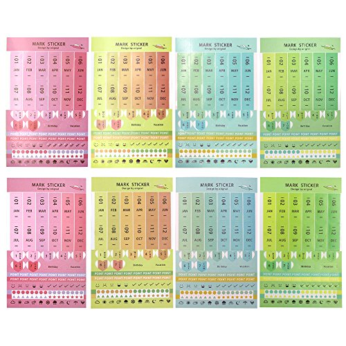 Md trade 8 Sheets Self Adhesive Mini DIY Monthly