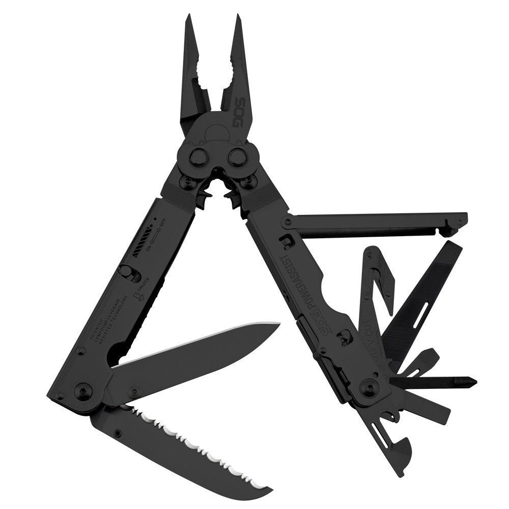 SOG PowerAssist Multi-Tool B66N-CP 16 Tools, Black Oxide, Nylon Sheath