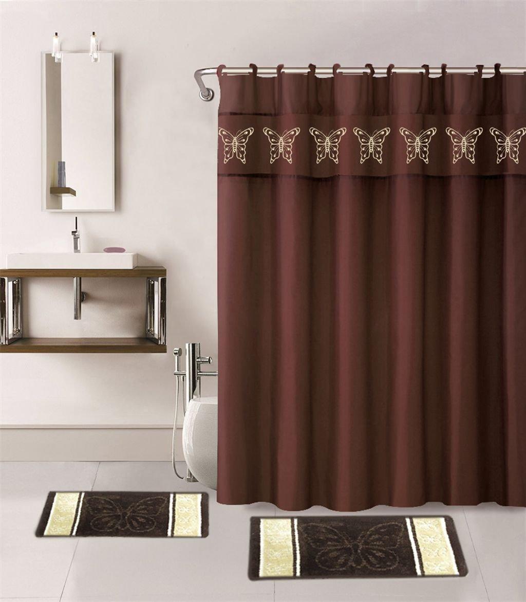 Amazoncom Marcielo Shower Curtain Set Piece Butterfly - Burgundy shower curtain sets