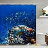 Creative Cute Sea Animal Multi-color Fishes Bath Garden Gate Polyester Waterproof Shower Curtain-Bathroom Accessories 72x72