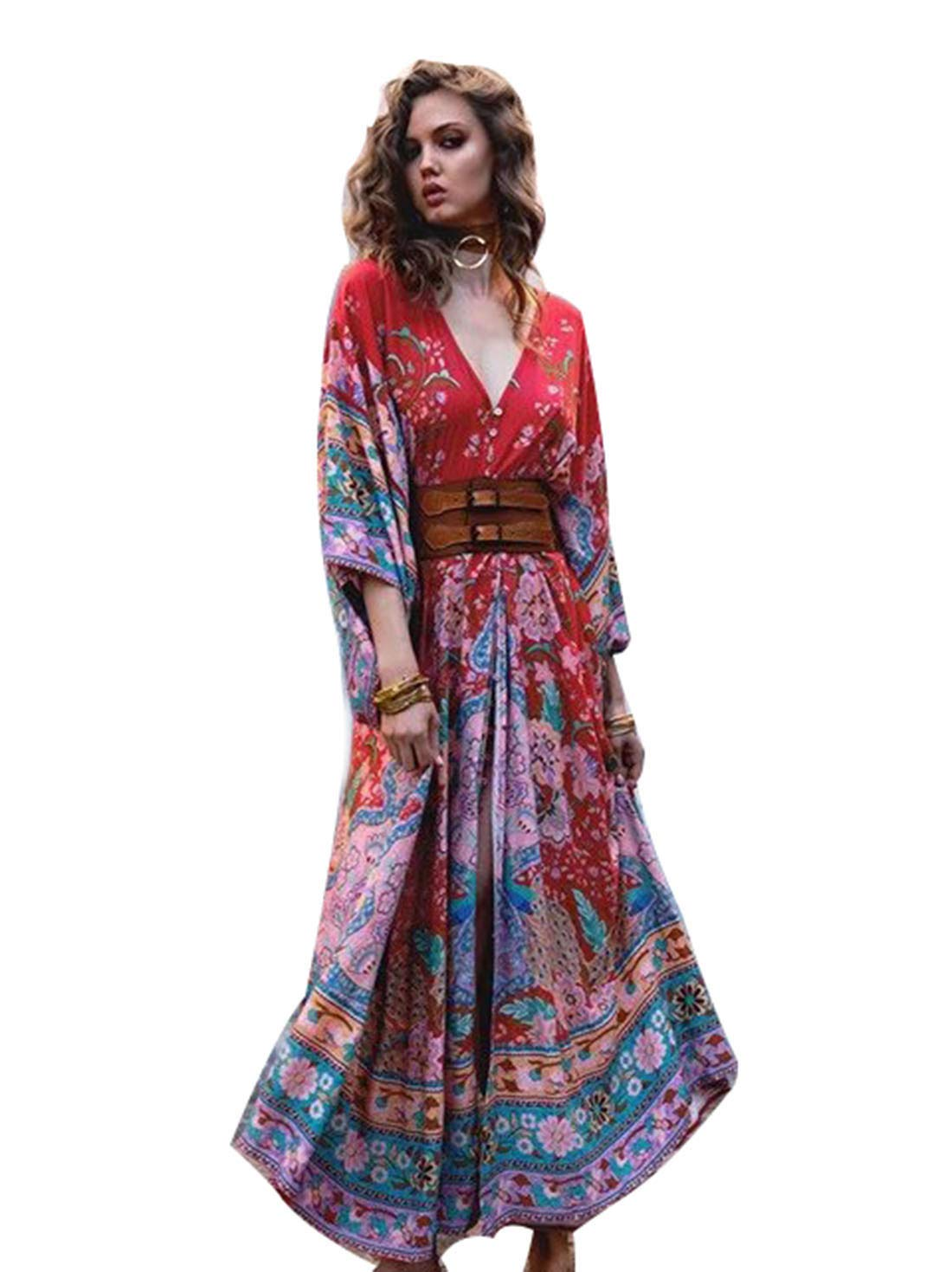 Women's Sexy Deep V Neck LaceUp and Printed Dress with Belt Autumn Long Sleeve Hight Waist Bodycon Dresses