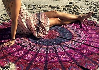 Amazon Com Popular Handicrafts Round Tapestry Indian Mandala Beach
