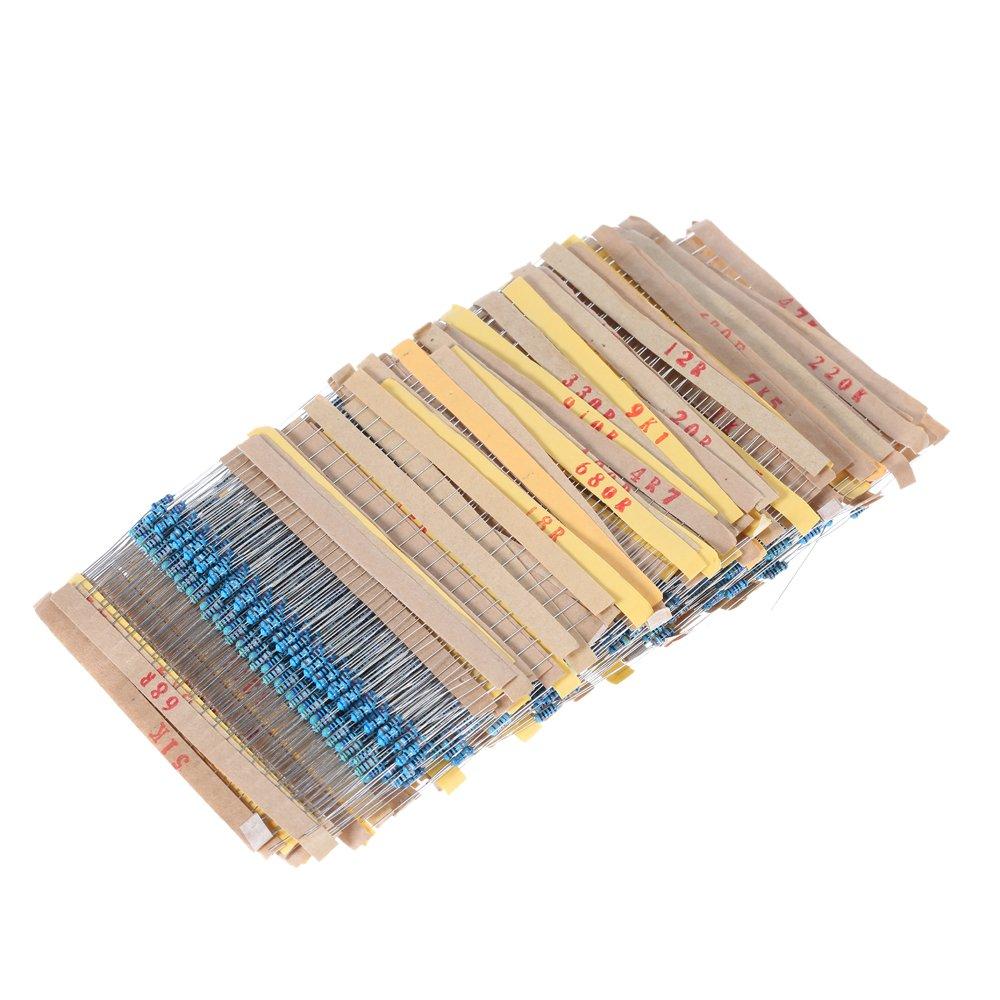 KKmoon 2000pcs 100 Values Metal Film Resistors Assortment Kit Electronic Components 1//4W 1 ohm to 1M ohm