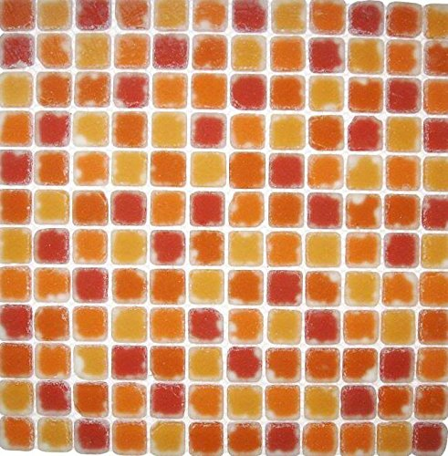 Red Floor Tiles (Art of Bath Mosaic SDG068 12 in. x 12 in. Floor Tiles Red, Orange, Red-Orange in Glass (Sold by Boxes,)