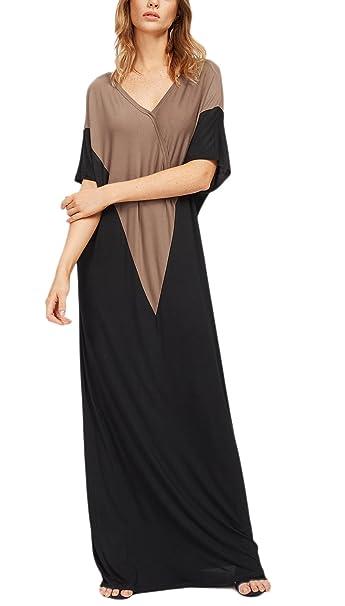... Corta V Cuello Rayas Patchwork Vestidos Playa Etnicas Estilo Hippies Sueltos Fashion Maxi Vestido Vestidos Informales: Amazon.es: Ropa y accesorios
