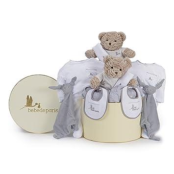 Canastilla Clásica Gemelos en Caja BebeDeParis-Gris- regalo bebé gemelar para recién nacidos