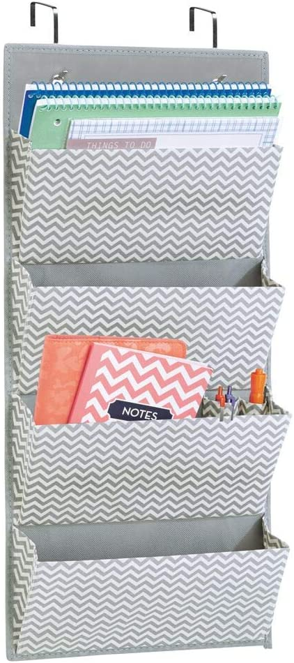 mDesign Soft Fabric Wall Mount/Over Door Hanging Storage Organizer - 4 Large Cascading Pockets - Holds Office Supplies, Planners, File Folders, Notebooks - Chevron Zig-Zag Print - Gray/Cream