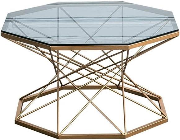 KUKU-mesas de centro Mesa de Centro de Vidrio de Hierro Forjado Octogonal translúcido, Bandeja de Hierro Forjado Artesanal Profesional para Hornear Metales, Adecuado para Sala de Estar, apartamento: Amazon.es: Hogar