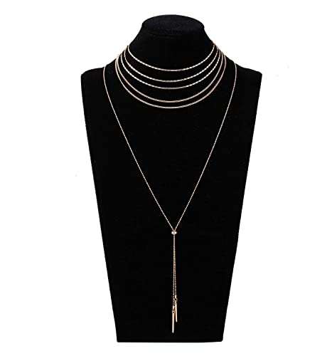 caa24623dc Layered Flat Chain Choker Necklace Set Simple Bar Pendant Beaded Tassel  Necklace Boho Separable Y Necklace