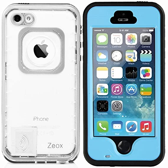 Amazon.com: Zeox Slim Series Touch ID Feature Enabled Waterproof Shockproof Dirtproof Snowproof Protection Case Cover for Apple iPhone 5S/iPhone 5 With ...