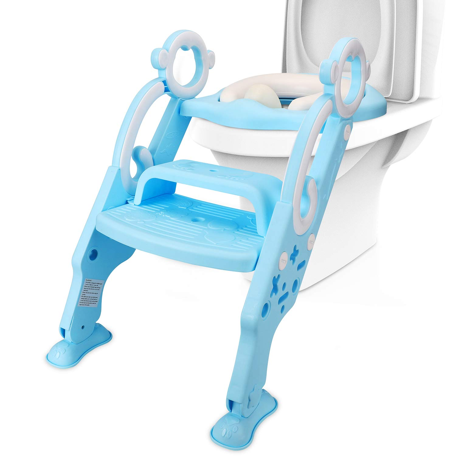 Potty Toilet Training Ladder Seat for Kids, Adjustable Baby Toilet Potty Chair with Sturdy Non-Slip Step Stool Ladder Anti-Splash Design Comfortable Handles for Toddlers, Boys and Girls