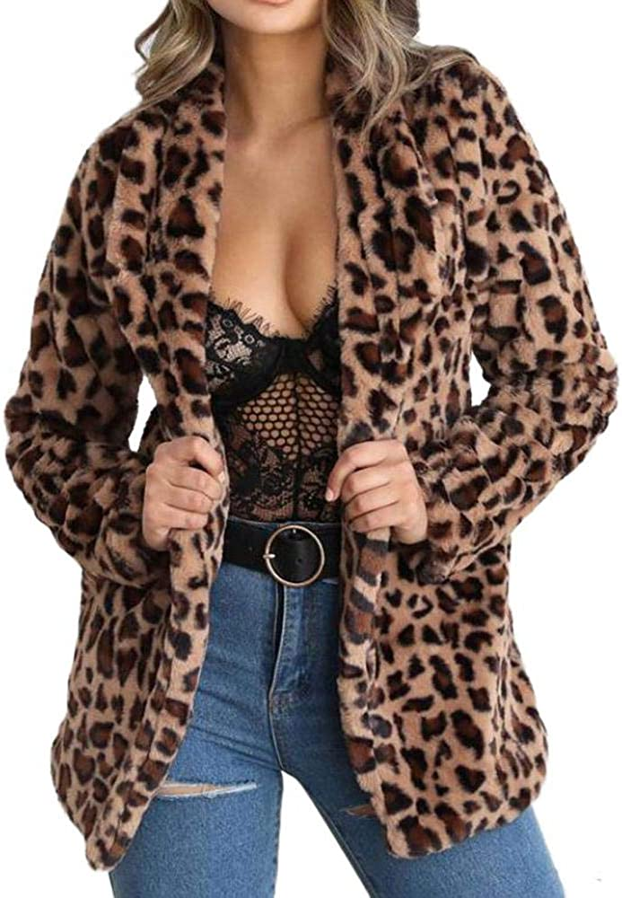 Womens Winter Warm Leopard Printed Cardigan Shearling Coat Parka Jacket Outwear