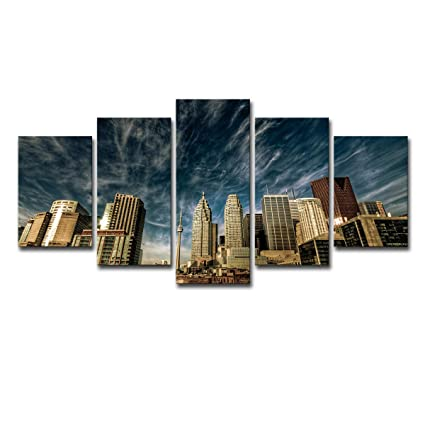 OOFAYWFD Pintura AL óleo Home Decoration Background Wall Art Pared impresión póster Toronto Sky Blue Sky