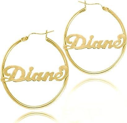 LONAGO 925 Sterling Silver Personalized Hoop Name Earrings Dangle Earring with Name Name Hoop Earring Name Drop Earrings