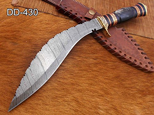 15 Inches Long Damascus Steel Kukri Knife, Custom Made Hand Forged Damascus Steel with 10