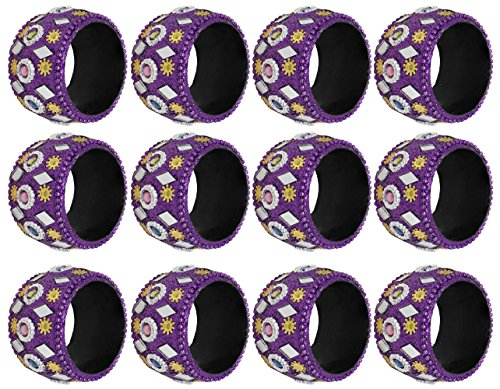 SKAVIJ Purple Decorations Napkin Rings for Weddings Dinners Parties or Everyday Use, Set of 12