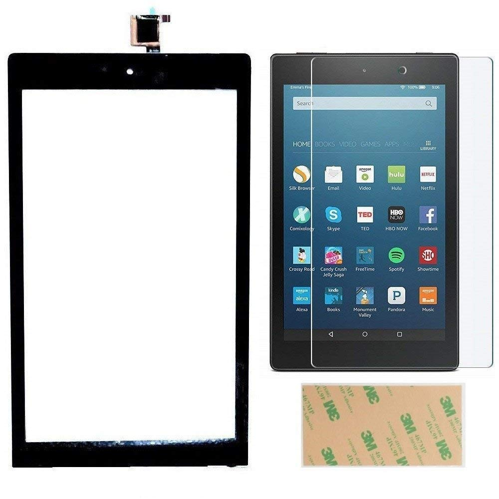 For Fire HD 8 (7th Gen, 2017 Release SX034QT) Touch Screen Digitizer Repair Part Replacement with Adhesive, Tempered Glass Screen Protector, NOT for HD 8 Kids 7th Generation (NO LCD & NO Instructions)