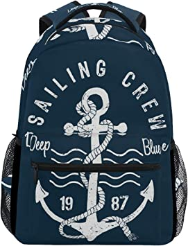 Nautical Pattern with Anchors Casual Backpack School Bag Computer Book Bag Travel Hiking Camping Daypack for Girls Boys Men and Women