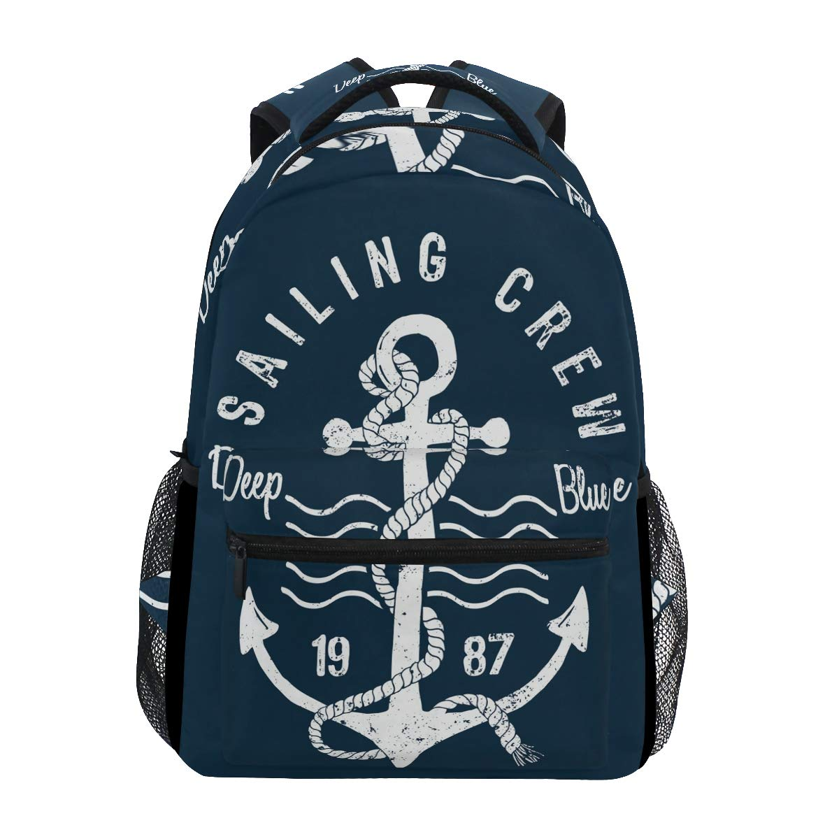 KUWT Ocean Sea Nautical Anchor School Backpack Casual Shoulder Bag College Bookbag Travel Hiking Daypack by KUWT