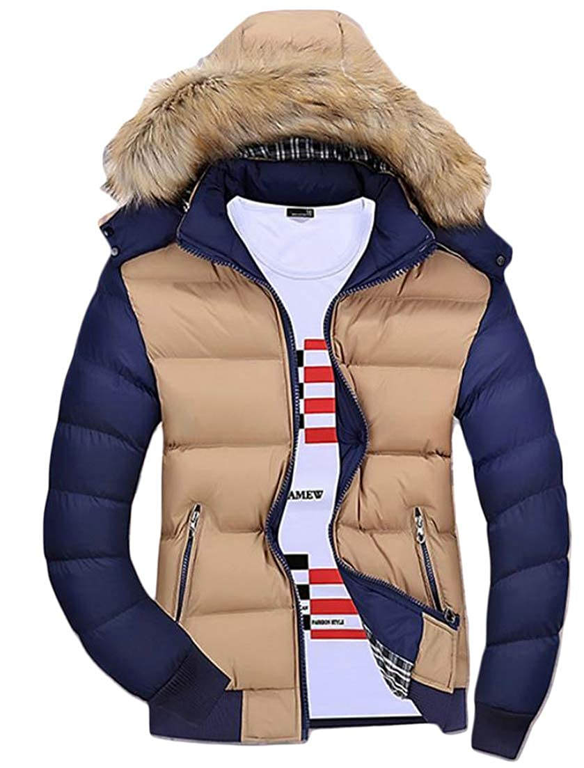 Cromoncent Mens Hooded Faux Fur Contrast Color Parkas Puffer Packable Autumn Winter Outdoors Down Jacket