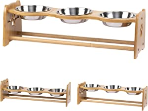 X-ZONE PET Raised Pet Bowls for Cats and Dogs, Adjustable Bamboo Elevated Dog Cat Food and Water Bowls Stand Feeder with 2 Stainless Steel Bowls and Anti Slip Feet