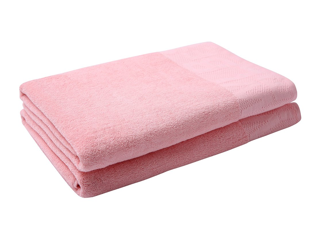 Metrekey 2 Piece Cotton Bath Towel Set Home Oversized 35x70 inches Economical 600 GSM Shower Quick Dry Softness Bathroom X Large Pool Patterned Clearance Absorbent Durable Pink