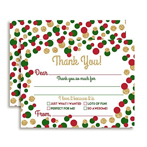 Polka Note (Christmas Polka Dots in Red, Green and Gold Thank You Notes for Kids, Ten 4
